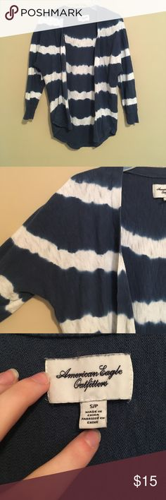 Blue + White American Eagle sweater Super light & cute American Eagle sweater in a blue & white striped pattern. Sort of looks tiedye which is really cute! Sleeves are 3 quarter length so meant for the summer/spring. No holes/stains, smoke free home American Eagle Outfitters Sweaters Shrugs & Ponchos