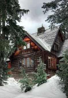 This would be the second half of my dream home, living in a forest somewhere cold! A wood house or log cabin is a given, but the destination can be the most important part. Winter Cabin, Cozy Cabin, Cozy Winter, Snow Cabin, Cozy Cottage, Winter White, Cabin Chic, Forest Cabin, Winter Mountain