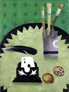 Ace of Spades and Paint Brushes - Mary Fedden Modernisme, Royal College Of Art, Still Life Art, Nature Paintings, Artist At Work, Flower Art, Paint Brushes, Mary, Creative