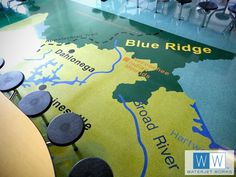 """How cool is this?  Three schools in Georgia are using floors to inspire learning in elementary age students. Some of the graphics are so detailed they look like stickers. They are actually individually cut pieces of VCT flooring (some as small as 1/8"""" thick) allowing such learning aids as underwater sea creatures and dinosaurs to become a permanent part of the schools."""