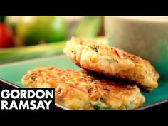 Sweetcorn Fritters and Yoghurt Dip - Gordon Ramsay Sweetcorn Fritters Recipe, Shrimp Fritters, Broccoli Fritters, Fruit Recipes, Cooking Recipes, Meat Appetizers, Chef Gordon, Savory Snacks, Popular Recipes