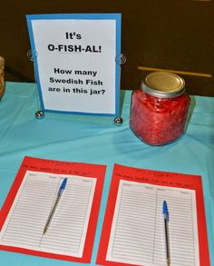 It's o-FISH-al! How many swedish fish are in the jar? Our Circus Adoption Party! Photo 6 of 32 www.CarrieDahlin.com