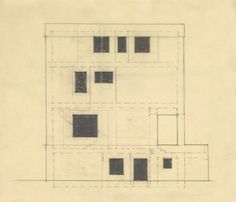 ADOLF LOOS, facade design with Window layout for the Villa Joseph Marie and Rufer, Vienna, 1922 (detail)