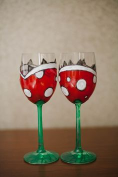 """Piranha plants DIY toasting glasses! I might just make a set of these for Adam """"just because;"""" screw waiting for a wedding, these are awesome."""