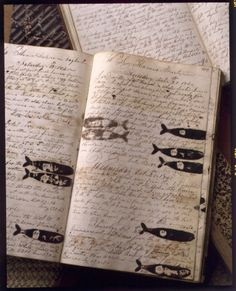 A Deeper Shade of Green at the Philadelphia Antique Show antiques whaling log Moleskine, Sea Captain, Captain Ahab, Buch Design, Muse, Antique Show, Handmade Books, Fish Art, Illustrations