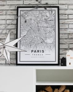 Map poster of Paris, France. Print size 50 x 70 cm available at Mapiful.com