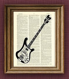 Rickenbacker Electric Bass Guitar Ricky illustration beautifully upcycled dictionary page book art print. This is an upcycled print printed on an old dictionary page. We take old books about to be destroyed and upcycle them in order to give them new life. The aging, slightly-yellowed page is carefully removed, and the image is printed directly on the recycled paper. The result is a unique and absolutely beautiful print suitable for framing. These prints are definite conversation-starters…