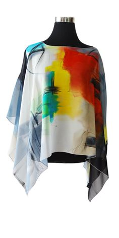 This versatile piece can be worn as a top or as a shawl. Hand-painted on silk chiffon, gives a luxuriously lightweight, silky feel to this top. Great for travel! All tops are approximately Hand Painted Dress, Paint Shirts, Diy Tops, Fashion Corner, Silk Art, Shirt Refashion, Fashion Painting, Fabric Painting, Silk Scarves