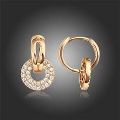 серьги для женщин и девочек из жёлтого или розового золота со вставками циркония купить на AliExpress