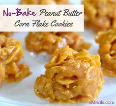 No Bake Peanut Butter Corn Flake Cookies