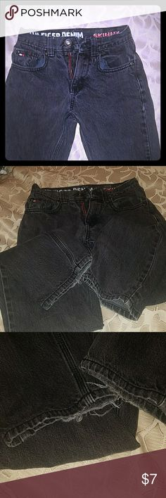 Boys black Hilfiger Denim Skinny Rebel Jeans Used boy's faded black denim skinny jeans by Hilfiger, size 8, bottom of jean legs freying (see pictures) **bundle with other boys jeans from my closet** Tommy Hilfiger Bottoms Jeans