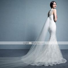 A-line Bateau Sweep/Brush Train (Lace/Tulle)/Garden/Outdoor Wedding Dress
