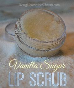 Lip Scrub 1:1 ratio of sugar to coconut oil (or olive oil) Vanilla Extract Combine and mix well. Ratio will depend on the oil using and texture you are going for. Can use other extracts/flavors.