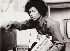 Jimi Hendrix Musical icon. Record vinyl love. Black and white photography