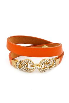 Crystal Link Bracelet in Tangerine