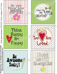 {Free Lunchbox In collection} Do you know how beautiful you are? You are Loved, Think happy be happy, You are so Creative! Get all these lunchbox Notes for the kids-FREE Kids Lunch Box Notes, School Lunch Box, School Lunches, Kid Lunches, Think Happy Be Happy, Happy Jar, Staff Gifts, Thinking Day, So Creative