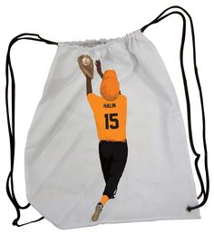 Custom Drawstring Bags!  Choose the background, personalize with name/number, and customize with uniform colors!