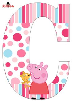 Alfabeto de Peppa Pig con Perrito. - Oh my Alfabetos! Pig Birthday, 3rd Birthday Parties, Peppa Pig Teddy, Cumple Peppa Pig, Peppa Pig Family, Pig Party, Cartoon Kids, Party Themes, Picnics
