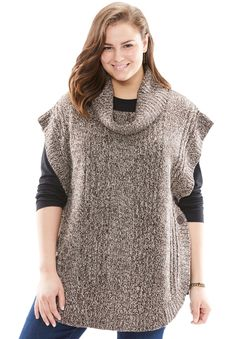 Women's Plus Size Marled Cowl Neck Poncho Light Khaki Chocolate,L: Versatile & very chic.Easy, warm and comfortable - this is fall's easiest length falls at upper thigh Imported, acrylic knit Machine washable Loom Knitting Projects, Easy Sewing Projects, Crochet Projects, Knitting Patterns, Crochet Patterns, Plus Size Kleidung, Knitted Poncho, Sweater Coats, Sweaters