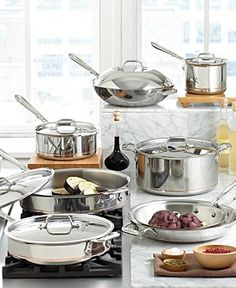 All Clad cookware - Worth the investment. Buy them once and they last a lifetime. Can even go in dishwasher.