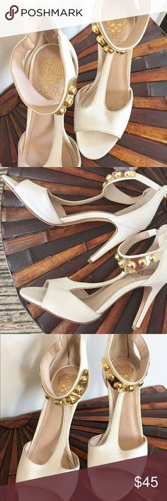 Vince Camuto Heels Vince Camuto creme and gold studded heels great condition! Vince Camuto Shoes Heels
