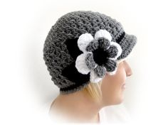 Crochet Newsboy Cap. 44 colors. Big Flower and by VividBear