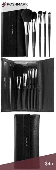 Sephora Collection Full Face Brush Set A six brush set designed to give you a complete look in minutes.  This chic trifold travel case houses all the tools needed to get a finished look in minutes. It features custom slots for each item within a sleek design that is perfect for travel. The easy-to-use brushes and included how-to card help achieve a polished application on the fly every time.  This Set Contains:  - Powder brush  - Foundation brush  - Large Shadow brush  - Large Brow brush…