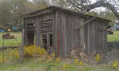 Pic taken 10/12/12 - Around 1951 I ask Mom and Dad if I could take old lumber left over  from the old Miller house that we salvaged and build a chicken house and got the ok. It was just a box and plank house but still standing after 60 or so years. It was all old saw mill lumber and a lot of it was oak and very, very hard to work with. It was barn red and trimmed in white when completed. I also built a tractor shed that year for the old F-14 but it was not to be found on this trip. Ray