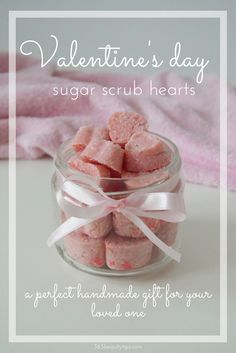 DIY natural sugar scrub hearts made with coconut oil and shea butter. A perfect handmade Valentine's day gift for your loved one!