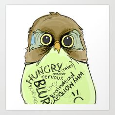 Worried Owl Art Print by Julianchow - $18.00