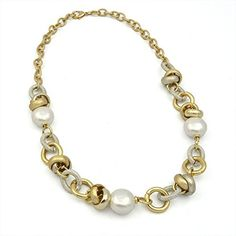 Gold Aluminum and Pearl Statement Link Necklace (Ultra lightweight Gold and Silver Plated Designer Fashion Collar Necklace Jewelry NU118) * You can find more details at