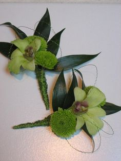 Kermit Mum and Green Dendrobium Orchid Boutonniere