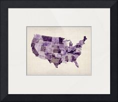 """""""United States Watercolor Map"""" by Michael Tompsett, Castellon // A map of the USA in watercolors, with each state in a different shade of purple. // Imagekind.com -- Buy stunning fine art prints, framed prints and canvas prints directly from independent working artists and photographers."""