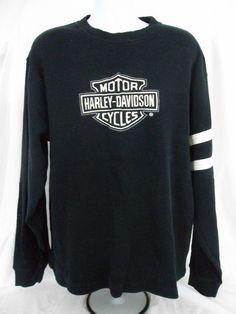 631cdc340c34 Harley Davidson Motor Cycles Mens Sweatshirt Black Embroidered L