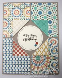Moroccan corner flip card created by Rita Berning. The Effective Pictures We Offer You About DIY Birthday Cards for boys A quality picture can tell you many things. Stampin Up Karten, Karten Diy, Stampin Up Cards, Flip Cards, Fun Fold Cards, Folded Cards, Handmade Birthday Cards, Greeting Cards Handmade, Simple Birthday Cards