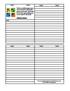 Printable geocaching logbook http://www.geocachingstamps.com