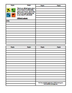 Printable geocaching logbook