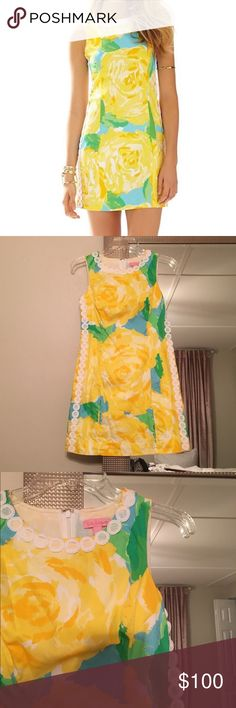 Lilly Pulitzer Mila shift dress Yellow and green floral dress. Print is first impressions. Size 4! This is one of the shorter styled dresses. Worn twice! Lilly Pulitzer Dresses Mini