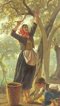La cueillette d'Olives.. Luigi Bechi (1830 – 1919, Italian)--Picking Olives