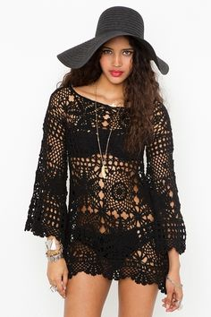 crochet tunic - in black