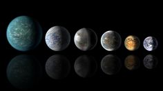 A newly discovered exoplanet, Kepler-452b, comes the closest of any found so far to matching our Earth-sun system. This artist's conception of a planetary lineup shows habitable-zone planets with similarities to Earth: from left, Kepler-22b, Kepler-69c, the just announced Kepler-452b, Kepler-62f and Kepler-186f. Last in line is Earth itself. Credits: NASA/Ames/JPL-Caltech