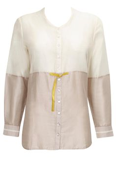 Off white and pale pink panelled shirt available only at pernia's Pop-Up Shop.