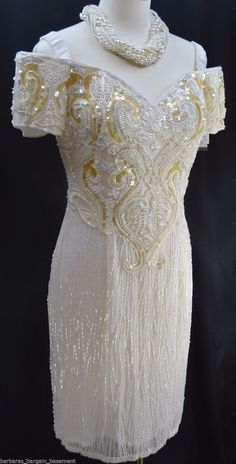 ALYCE Designs bridal wedding heavy beaded knee gown white dress sexy VTG 12 NWT