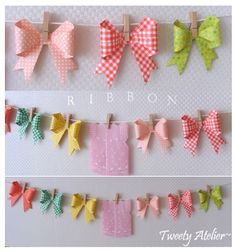 thegluegungirl: Origami bow tutorial, This would be cute mixed with paper flowers of different sizes.