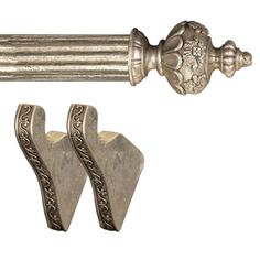 Urn finials with ornate texturing make the Menagerie Ready in. Pole an elegant solution. Window Treatment Hardware, Drapery Hardware, Urn, Ornate, Curtains, Drapery, Curtain Rods, Curtain Clips, Curtain Brackets