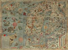 Old map sea monsters, inspiration for our nautical themed main bathroom. I think I will paint a sea creature on our new cabinet shelves . . .