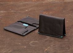 Slim Sleeve Wallet from Bellroy, made in the U.S. Love the turquoise stitching detail on this smart unisex wallet.