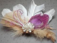 Peacock Wedding Feather Accessories, Feather Hair PIece, Wedding Hair Accessory, pink peacock, feather hair clip - FUSCIA FANTASIES. $36.00, via Etsy.