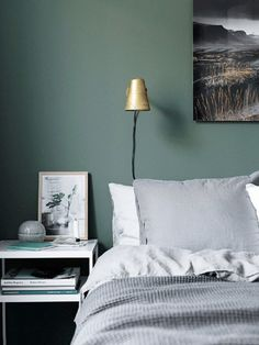 Moody minimalist bedroom with forest green walls, and a gold wall sconce
