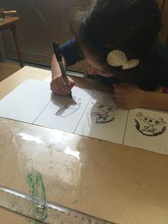 Inviting children to artistically retell familiar stories. This S is retelling Goldilocks through her illustrations.